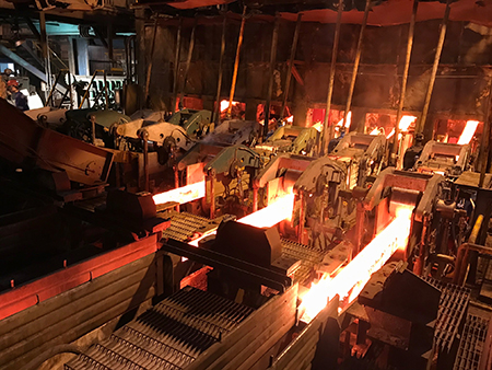 First cast on the modernized six-strand billet caster from SMS Concast at Dragon Steel Corporation in Taichung, Taiwan.