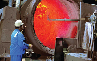 Gunning robots for improved hot repair in steel plants